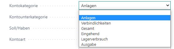 Konto Kategorie deutsch