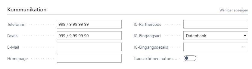 Firmendaten Kommunikation
