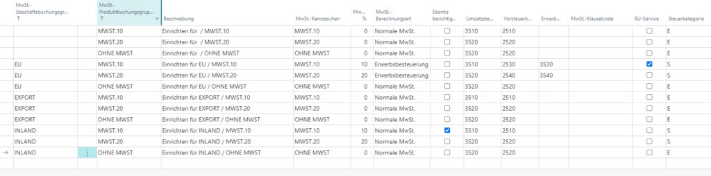MwSt. Buchungsmatrix 1