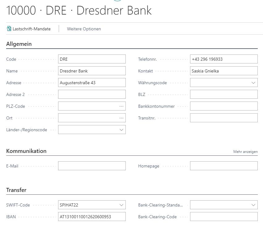 Debitor Aktionsleiste Bankkonten