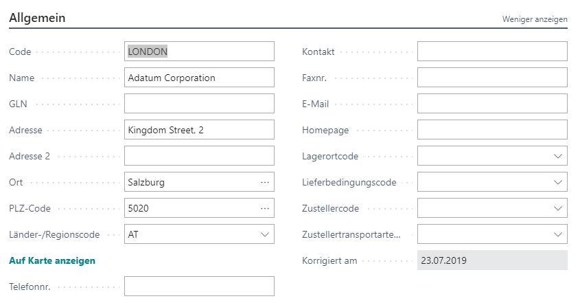 Debitor Aktionsleiste Lieferadressen