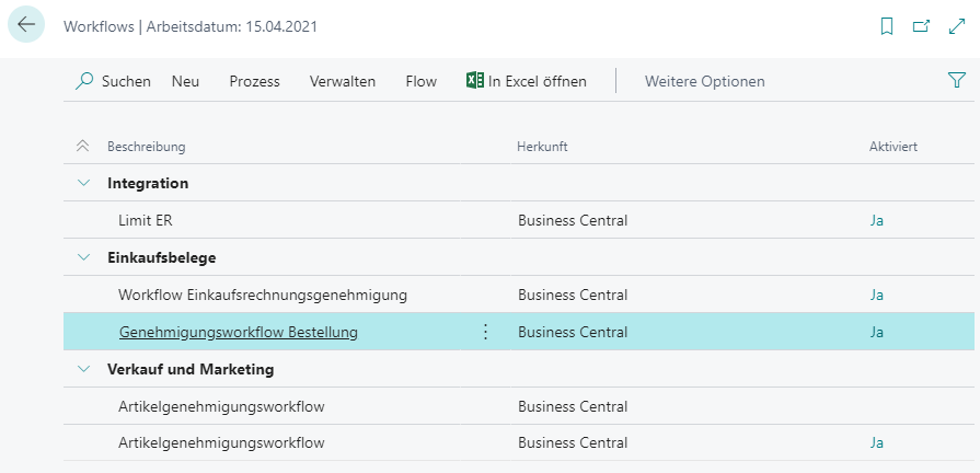 Debitor Aktionsleiste Workflows