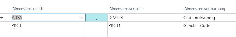Dimensionen Vorgabedimension